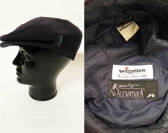 "Vintage Wigens Swedish Black Flats Driver Cap Gatsby Hat Size 56 / 22"""