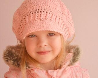 NEWSGIRL HAT crochet pattern, newsboy, visor, beret hat in 5 sizes: baby, toddler, child, teen, adult for girl and woman, women