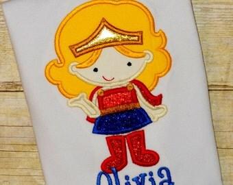 girls superhero super hero shirt girl Super Hero shirt Wonder woman inspired birthday top clothing