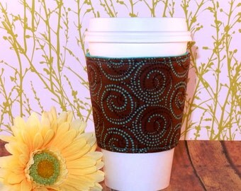 Fabric Coffee Cozy / Dotted Circles Coffee Cozy / Polka Dot Coffee Cozy / Coffee Cozy / Tea Cozy