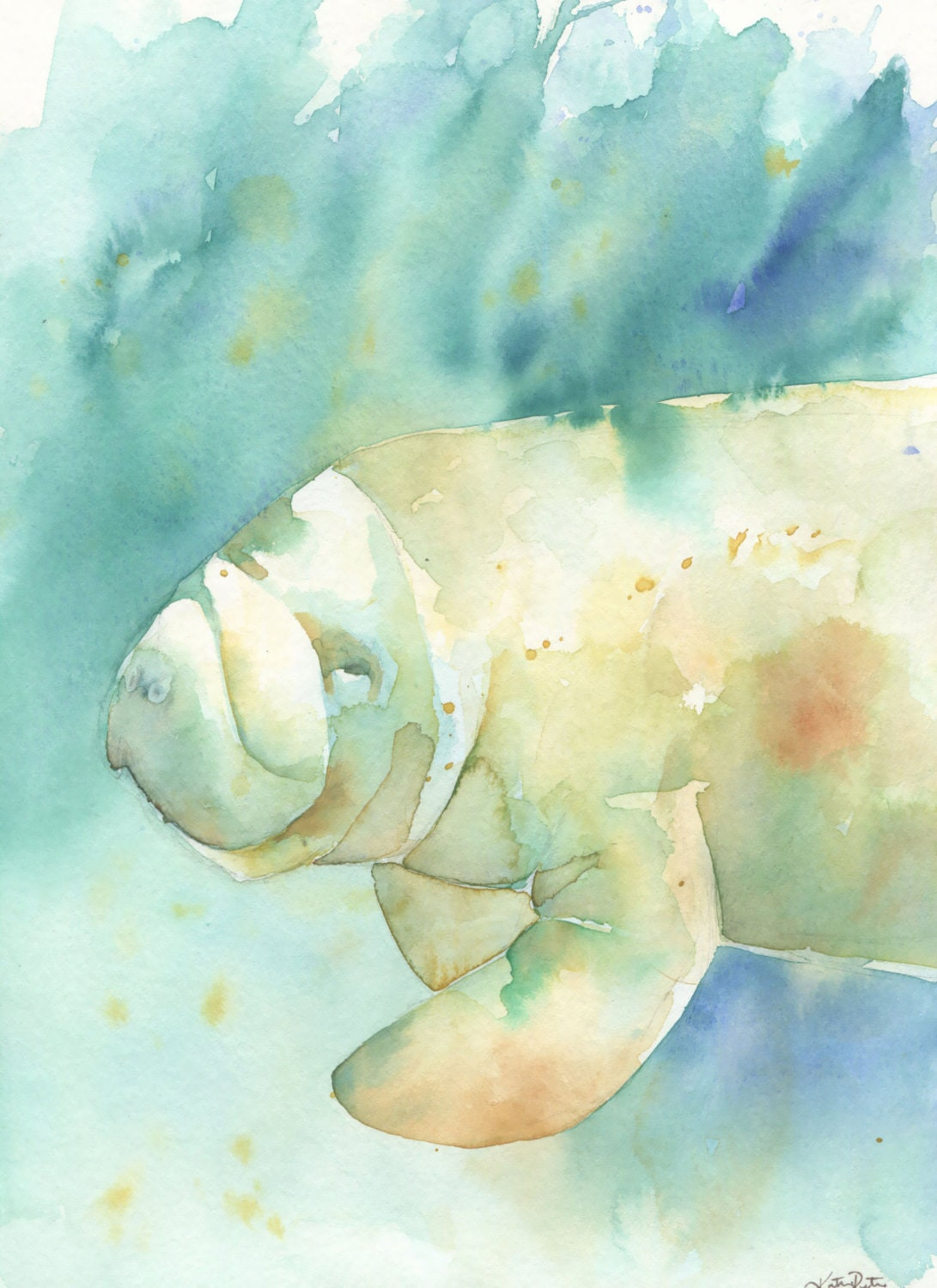 Watercolor Manatee Print In Blue Teal Green Aqua Sea