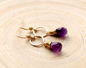 Gold filled Amethyst earrings, February birthstone gift for women. Small gold hoops with Amethyst. Mother's day gift, birthday gift for her.
