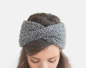 READY TO SHIP / Extra Chunky Turban in Black and White, Hand Knit Earwarmer, Knitted Headband, Ribbed Headwrap