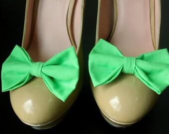 Green Shoe Bows, Shoe Clips