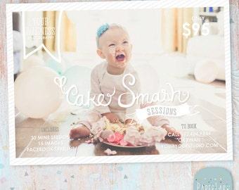 Cake Smash Marketing Board 5x7 - Photography Marketing - Photoshop template - IJ001 - INSTANT DOWNLOAD