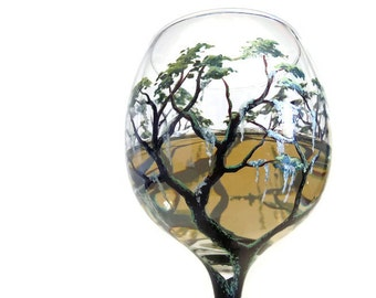 Tree Wine Glass Hand Painted Southern Savannah Georgia Souvenir Live Oak Spanish Moss Unique Collectible Artistic Stemware Wedding Gift
