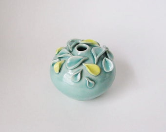 blue green and yellow ceramic vase / celadon porcelain vase by echo of nature, yumiko goto