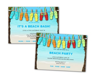 Digital DIY Beach Luau Birthday Party Invitation / editable PDF / add your text, print it, customize / ocean, flip flops / blue