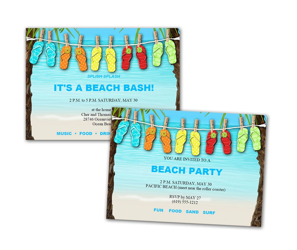 Beach Birthday Party Invitation Surf printable personalized ...