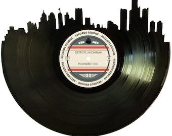 Detroit Skyline Records Redone Label Vinyl Record Art - Unique Gift - Birthday Holiday Christmas Wedding