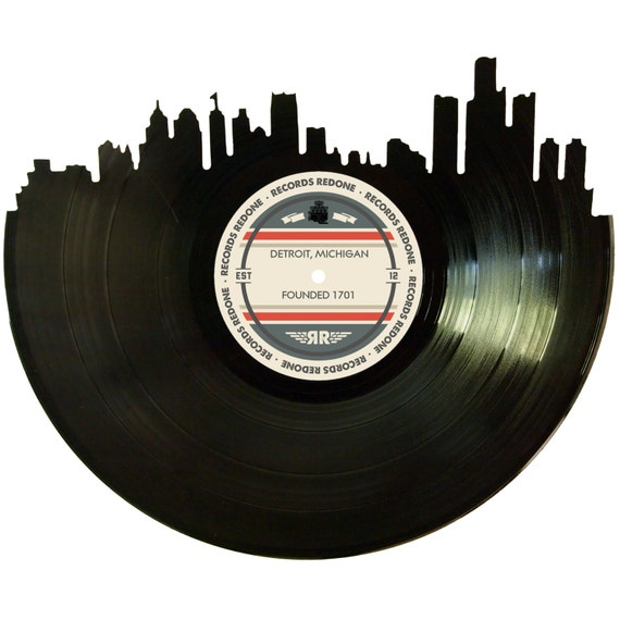Detroit skyline records redone label vinyl record art unique for Vinyl record decoration ideas