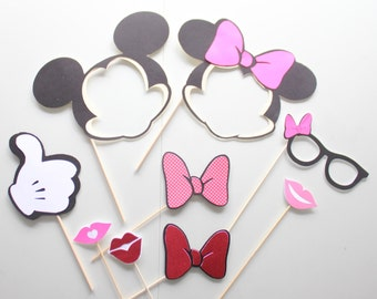 9pc * Mickey and Minnie Inspired Photo Booth Props/Photobooth Props/Mickey Mouse/Minnie Mouse/Disney Props