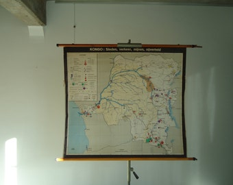 Vintage pull down school map of Congo