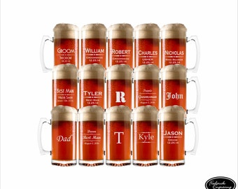 15 Beer Mugs, SHIPS FAST, Groomsmen Beer Mug, Engraved Beer Mug, Personalized Beer Mug, Etched Beer Mug, Custom Beer Mug, Wedding Glasses