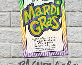 Mardi Gras invitation, printable, diy