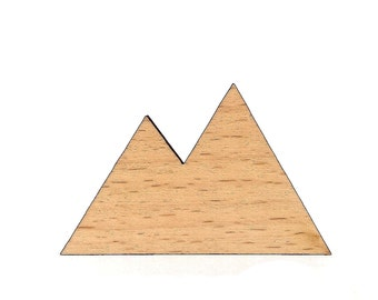 Wooden mountain brooch, mountain range pin gift idea for her