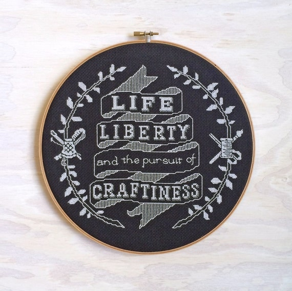 Life, Liberty, and the Pursuit of Craftiness - Cross stitch sampler pattern PDF - Instant download