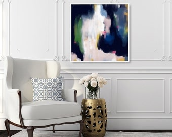 Lori, 6x6-36x36in, Abstract Fine Art Print, abstract print, blue abstract, pink abstract