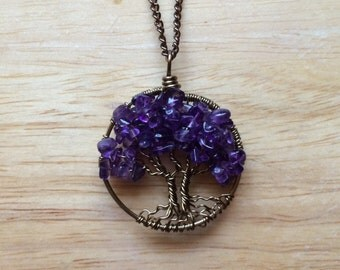Twin Amethyst Tree Of Life Necklace Sweetheart Pendant Brown Chain Brown Wire Wrapped Tree Gemstone