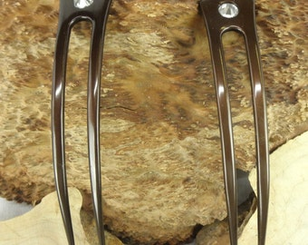 TWO Brown Anodized Aluminum 6 Inch Curved Two Prong Hair Forks Picks Pins Combs Pics Sticks Waterproof Unbreakable with  FPL of 5 Inches