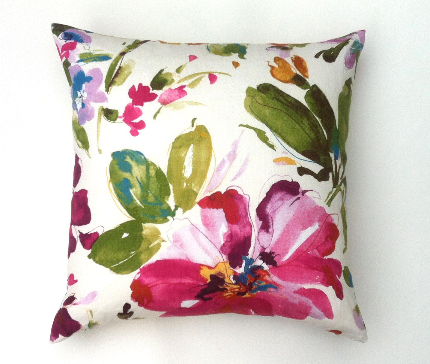 Large Flower Throw Pillow : One Chic Fuchsia Large Floral Decorative Throw Zipper Pillow