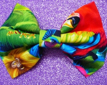Tropical rainforest monkey and parrot hair bow