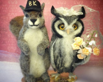 Custom Felted Wedding Cake Toppers