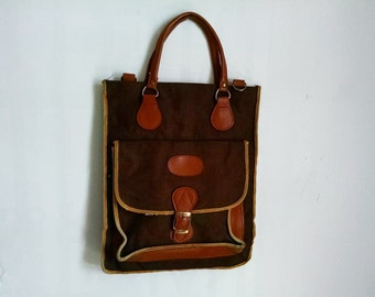Vintage Brown Canvas and Leather Satchel