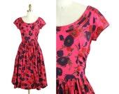 1950s Jerry Gilden Dress / 50s Pink Dress / Poppies on Bright Pink Full Skirt Dress
