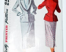 1950 Simplicity 3338 Womens 2pc Pinched Waist Suit & Dickey Vintage Sewing Pattern