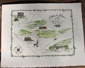 Made To Order - Napa Valley Wedding Map Engagement Map Watercolor Wine Region Map Keepsake Map Palmaz Vineyard Lail Vineyard French Laundry