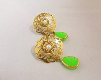 Green and Gold Pearl Statement Earrings