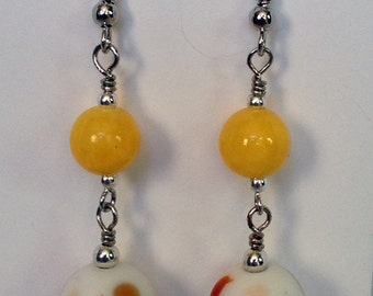 Yellow earrings, Yellow & Orange Earrings, Lampwork Earrings, Long Earrings, Yellow and White Earrings, Yellow, White and Orange Earrings
