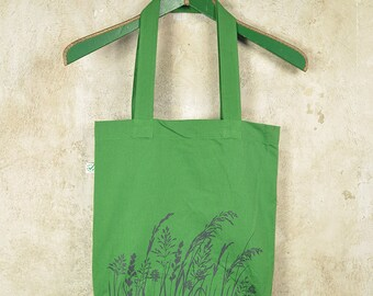 Silkscreen Tote Bag - Grey Hair Grass on Leaf Green Bio & Fairtrade Cotton Bag