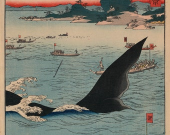 "Utagawa Ando Hiroshige : ""Whale Hunting at the Island of Goto in Hizen"" (1859) - Giclee Fine Art Print"