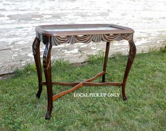 Vintage Mahogany Glass Top Table