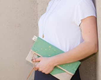 NEW! Mint Clutch Purse, Gold Details, Linen Accents, Leather Pull, Bridesmaid Gift, Mother's Day Gift