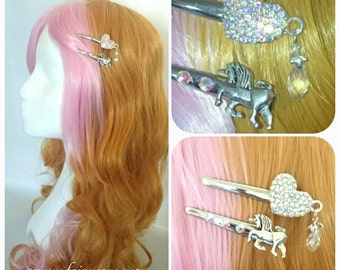 Unicorn heart hairclips