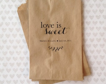 Set of 50 - Love is Sweet Kraft Paper Bags - Wedding Paper Bags