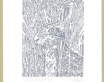 Grey Hare Linocut Print - Hand cut Linocut Print