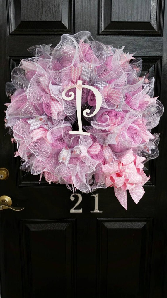 Large Mesh Wreath Baby Girl Shower Nursery Hospital Door Room Decor Pink White Grey Personalized Monogram Initial Chevron Polka Dot Ribbon