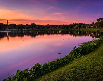 Crescent Lake at sunset, in Saint Petersburg, Florida - Urban Photography Fine Art Print or Wrapped Canvas