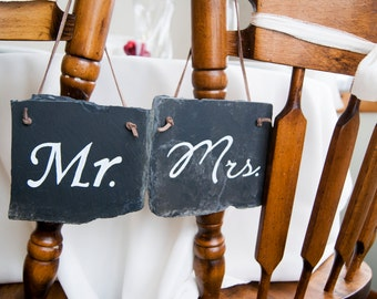 "Slate Wedding Chair Signs - ""Mr"" and ""Mrs"""