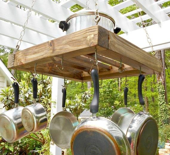 Hanging Wood Pot Rack Rustic Pot Holder Holds 12 Pots
