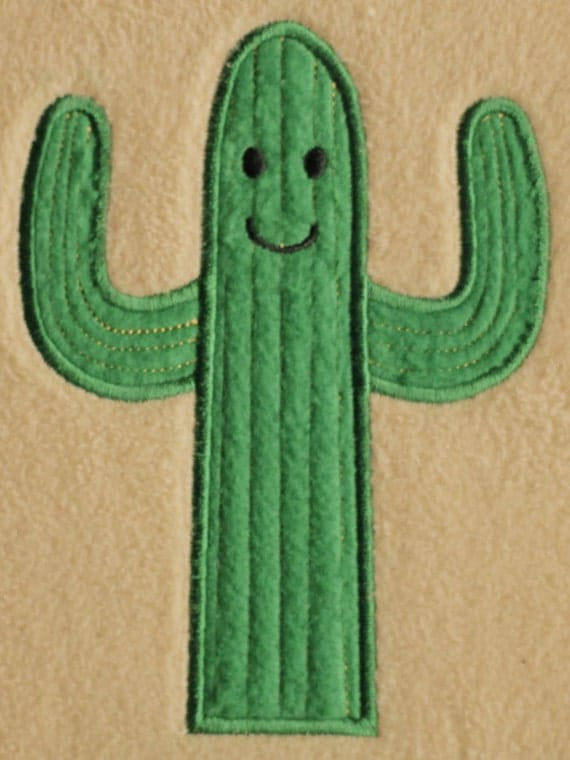 Cactus applique embroidery design instant download from