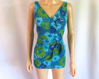 "1960s Cole of California Bathing Suit Semi-Sheer Side Panels 26"" W"