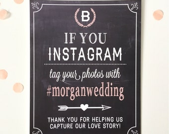 Instagram Hastag Sign, Custom Hashtag Sign, modern wedding sign decor.