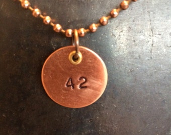 42 stamped copper pendant,  Meaning of Life,