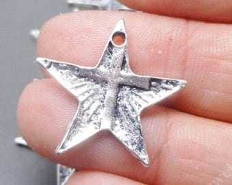 Star Cross Charms in Antique Silver tone - Christian Charms -  Antique Tibetan Metal Charms Pendant Lot - MC0534