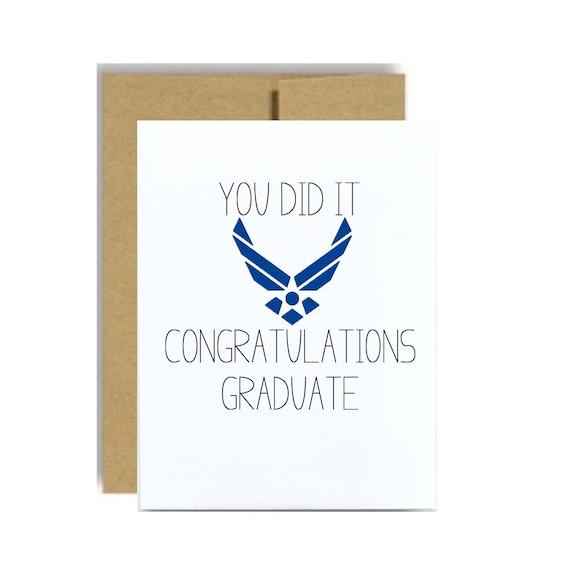 Air Force Graduation card - military grad airman you did it blue kraft congratulations